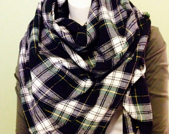 Black, Green and White Plaid Blanket Scarf, Cotton Flannel Wrap, Dress Gordon Plaid Oversized Scarf, Fringed Plaid Shawl
