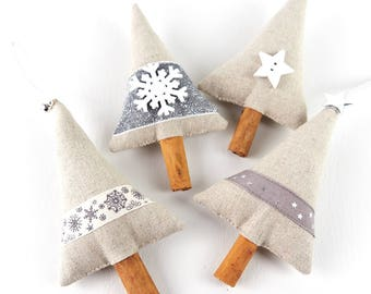 Christmas in July, Set of 4 Silver & White Ornaments, Luxury Christmas Tree Decorations, Cinnamon Stick, Natural Decor