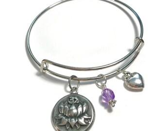 Bangle Bracelet, Bangle Charm Bracelet, Charm Bracelet, Ohm Charm Bangle Bracelet, Lotus Flower Bangle Bracelet, Yoga, Ohm, Lotus Flower