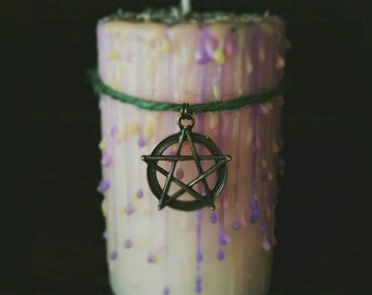 beltane spell candle, wiccan Pagan ritual, witchcraft fire festival, dressed cream pillar, curiosity, witches aid
