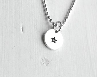 Tiny Star Necklace, Sterling Silver Jewelry, Small Star Necklace, Hand Stamped Jewelry, Charm Necklace, Star Pendant, Star Charm, Star