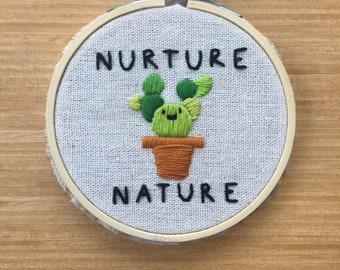 Nurture Nature Embroidery Hoop Wall Art