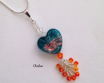 Ice and Fire Lampwork Pendant, Starburst heart with Moonlight and Fire Opal Swarovski elements and Sterling silver, GoT, game of thrones