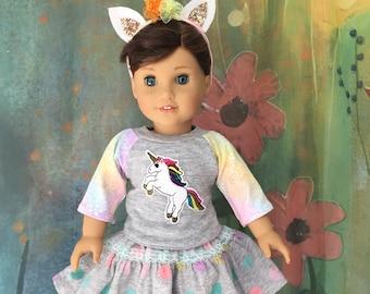 American Girl Gray Rainbow Unicorn Outfit