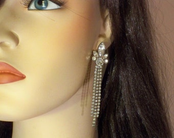 New Old Stock Vintage Clear Rhinestone Long and Dangly Pierced Earrings * RS160