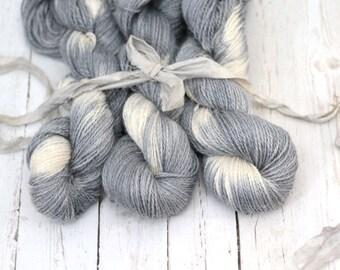 "Hand dyed Yarn Baby Alpaca, Silk, Linen ""Leiana"" DK Weight  Swoon Fibers ""Shibori Gray"""
