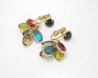 Crystal Earrings, Bezel Set Crystal Earrings, Multi Color Crystal Earrings, Cluster Earrings, Colorful Earrings