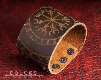 Celtic Leather Bracelet ,  Vegvisir , Men's Leather Wristband, Norse Leather Bracelet , Nordic Leather Bracelet Cuff , Men's Cuff Bracelet