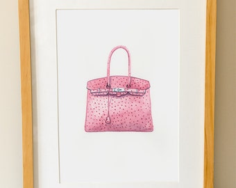 HERMES BIRKIN - Handbag - Fashion Art - Watercolour Print - Pink Bag - Gifts For Her - Haute Couture Art -  Dressing Room Wall Art - Fashion