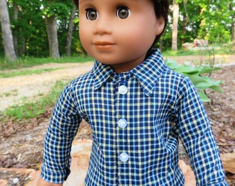 Blue, yellow, and white, Plaid Button-Down Shirt for 18'' American Girl Boy Doll