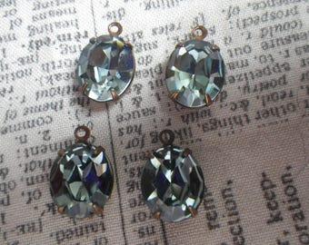 Indian Sapphire Blue Swarovski Crystal 12x10mm Oval Brass Ox Glass Drops 4 Pcs