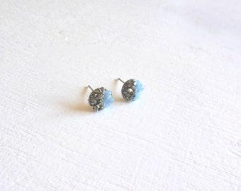 Aquamarine pyrite dipped gemstone  stud earrings