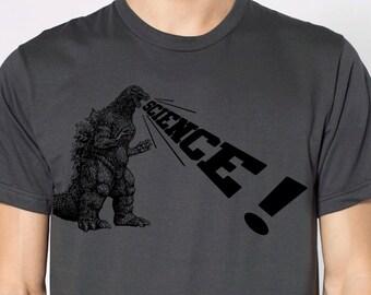 mens Godzilla Science t shirt- American Apparel asphalt gray- available in S, M, L, XL, XXL- WorldWide Shipping
