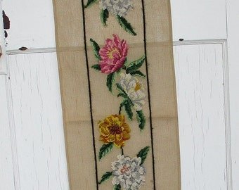 Large Floral Needlepoint Canvas, Flowers Red, Pink and Gold  Preworked Needlepoint Canvas, Floral Table Runner, Floral Embroidered Tapestry