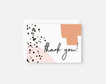 Thank You Note Set / Modern Thank You Card Set / Pink Baby Shower Thank You Notes / Bridal Shower Thank You Notes / Boho Thank You Cards
