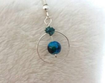 Hoop and blue bead earring