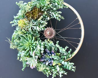 Succulent Bicycle Wreath
