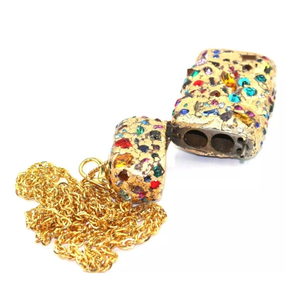 Exquisite Gay Isber Designer Original Gold Flake & Swarovski Crystal Gem Incrusted Stash Treasure Box Glamorous True Runway Pendan