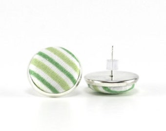 Stud Earrings - Spring Green Stripes - White Easter Silver Toned Earring Studs - Fabric Buttons Jewelry Country Bridal Posts Wedding