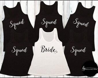 Bridesmaid Shirts Squad Shirts Bridesmaid Shirt Set Bachelorette Party Shirts Bridesmaid Tank Tops Wedding Shirts Bride Shirt Squad Shirts
