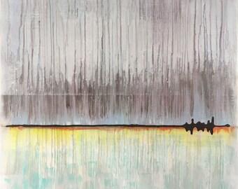 Blue Sky Horizon Abstract Original Painting By Artist Rafi Perez Mixed Medium on Canvas 30X30