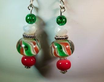 Christmas candy lampwork earrings-X135