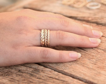 Braided ring Gold Set, Unique Infinity ring set, braided gold wedding ring set women, Gold braid rings set, gold twisted wedding ring set