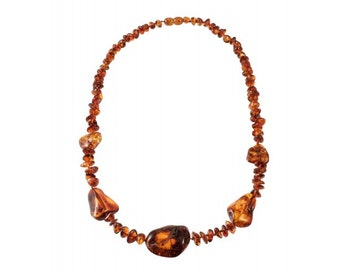 Luxury Raw Amber Cognac Color Massive Necklace