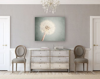 Canvas Art: Dandelion  Canvas, Nursery Decor, Shabby Chic Decor, Flower Print, Soft Blue, Cottage Chic Decor, Dandelion Art.