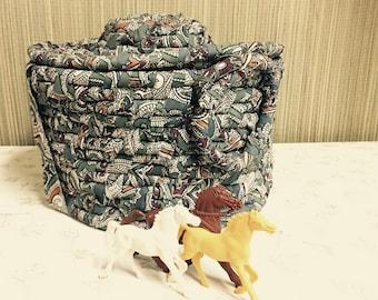 Rag Basket with Lid, Storage Basket, Vintage Handmade Cloth Canister