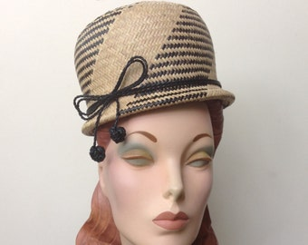 Black and Natural Straw Bubble Hat,