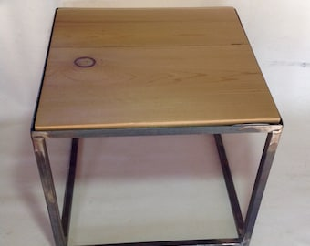 Industrial style end table /  reclaimed wood top / Not free shipping