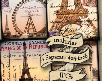 Paris France Digital collage sheet PLUS 4 separate JPG files Eiffel Tower Ferris Wheel large 4-inch squares coasters, cards -- piddix 958b