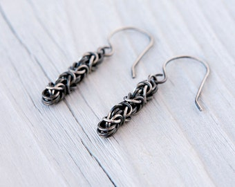 Oxidized Sterling Silver Byzantine Chainmaille Earrings with Handmade Earwires