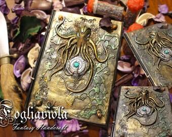 Rise of Cthulhu Octopus Journal Necronomicon diary Lovecraft Kraken Marine Secret sigil Octopus nautical handmade Turquoise Magic Medallion