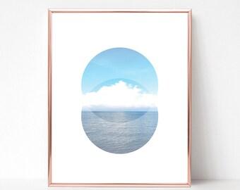 Landscape Art-Landscape Print-Sky Print-Ocean Print-Nature Art-Digital Print-Circle Art-Nordic Print-Wall Print-Geometric Art-Poster Print