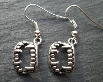 Vampire Fangs Silver Charm Earrings