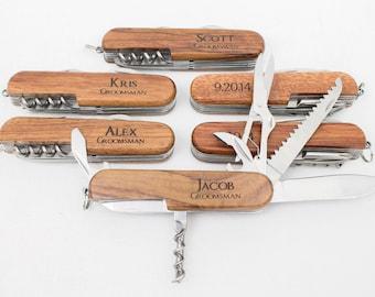Ring Bearer Gift, Engraved Pocket Knife, Personalized Groomsmen Gift, Rosewood Knife, Personalized Wedding Favor, Knife, Wedding Party Gift
