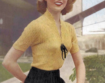 1940s  Dainty  Lace Sweater Vintage Knitting Pattern PDF Marriners