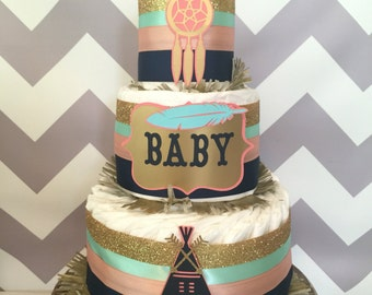 Tribal Diaper Cake in Mint, Navy, Coral and Gold, Tribal Baby Shower Centerpiece