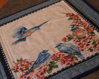 Blue Birds Apple Blossoms 19  X 23 Table Runner Topper