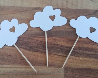 White Cloud Cupcake Toppers, 12 Cloud toppers, Cloud Decoration, Baby Shower cupcake toppers, Cloud Cake Decoration, Up Up and Away
