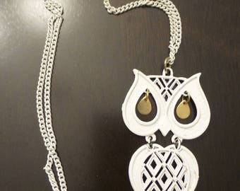 Large White Articulated Owl Necklace