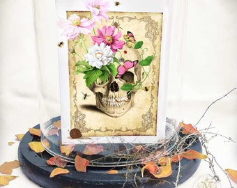 Halloween card, skull, day of the dead card, vintage, Gothic, holiday card, blank all occasion card