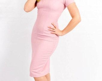 50s Wiggle Dress | 50s-Style Pink Wiggle Dress | Pink Knit Sheath | Medium