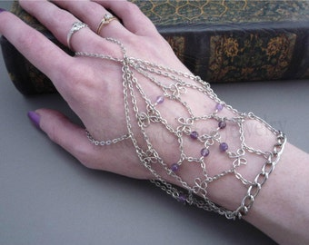 Slave Bracelet Handflower Silver tone chain Amethyst beads ring bracelet adjustable chain bracelet clover wire beads purple