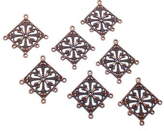 25pcs Antiqued Copper Diamond Filigree Chandelier