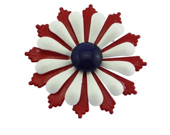Vintage Red Enamel Flower Brooch, Large Red Flower Brooch, Red Enamel Flower Pin, Red White Blue Enamel Flower Brooch