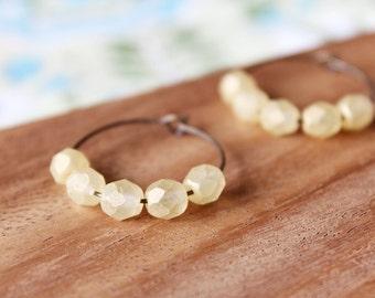 pale lemon czech glass hoop earrings