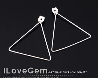 NP-1654 Rhodium Plated, Clutch, Earnut with 34.5mm triangle, Ear back, Earring back stopper, 2pcs